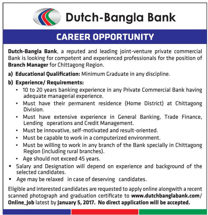 Dutch Bangla Bank Limited Circular Recruitment