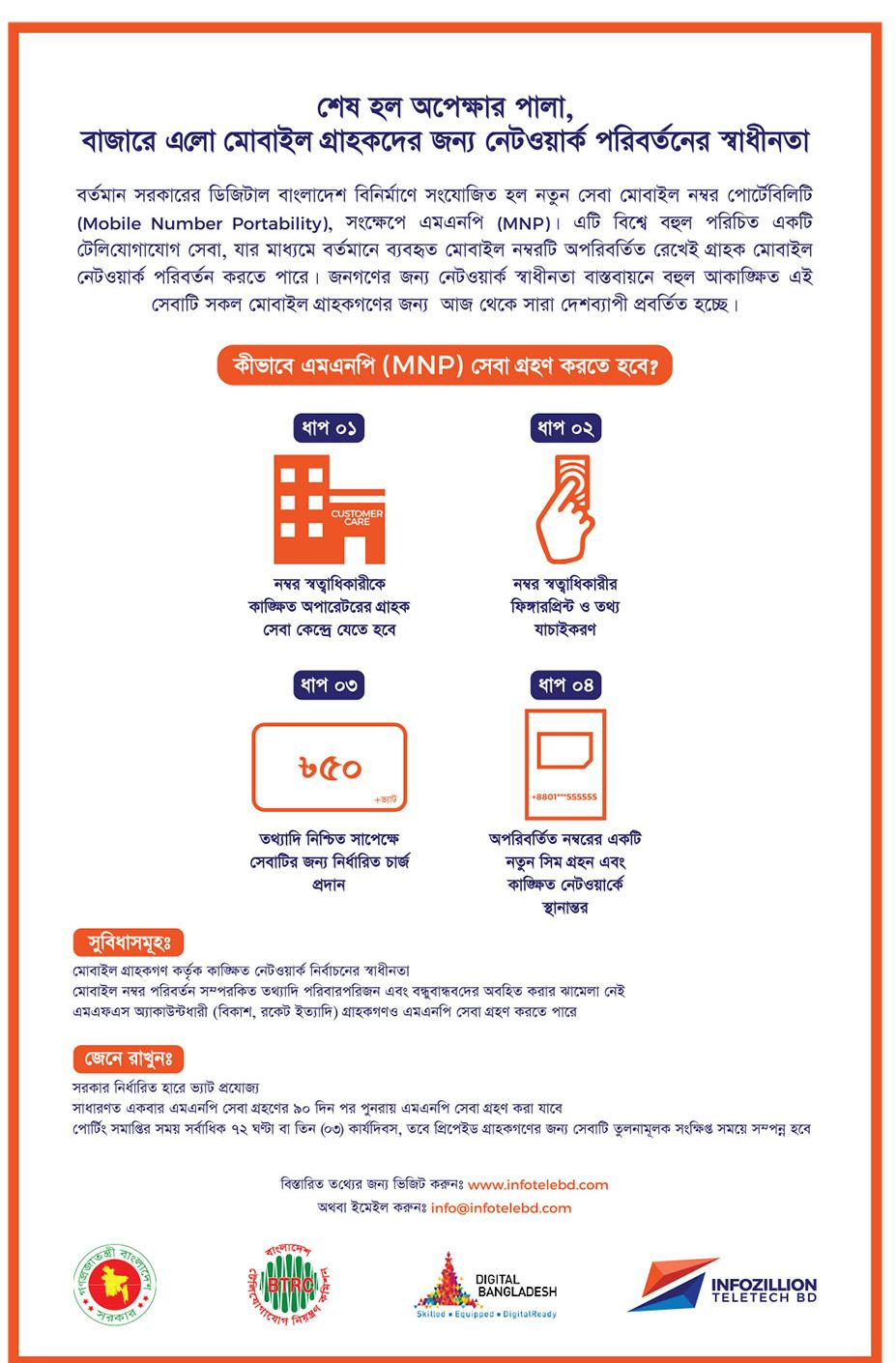 Mobile Number Portability), (MNP)D - Oct 01, বাংলাদেশ