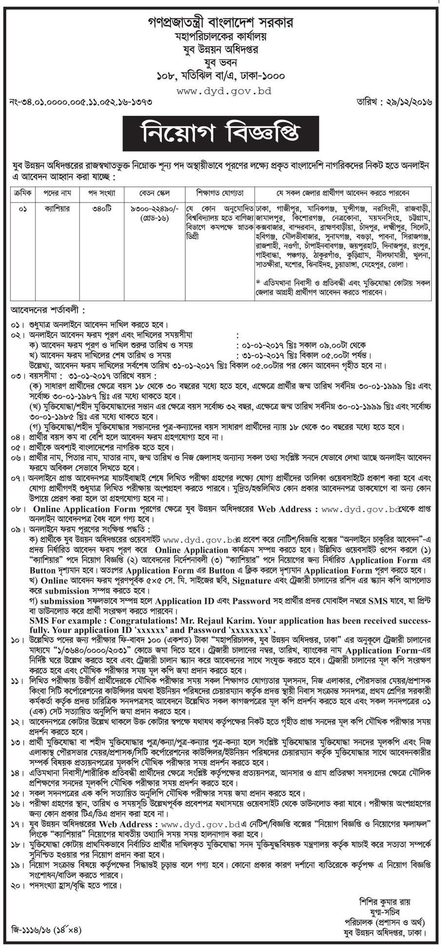 Department of youth development job circular