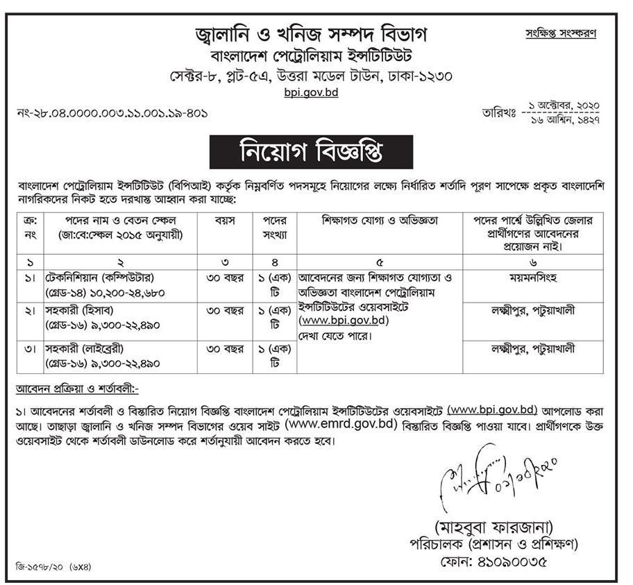 Bangladesh Petroleum Institute Job Circular 2020 www.bpi.gov.bd