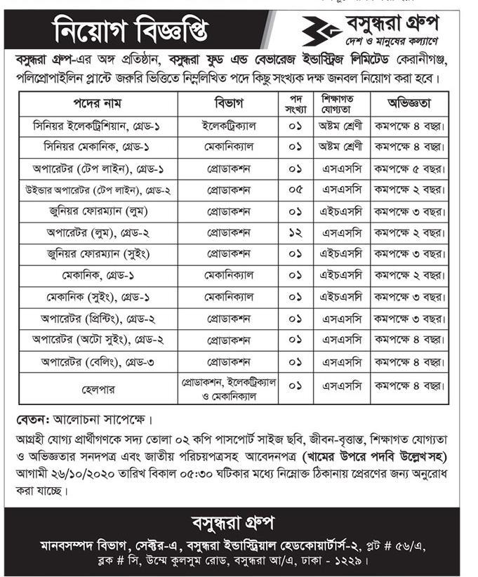Bashundhara Group New Job Circular 2020 Application From